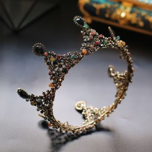 Vintage / Retro Colored Rhinestone Tiara 2020 Gold Alloy Bridal Hair Accessories