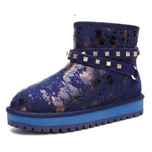 Mode Schneestiefel 2017 Königliches Blau Leder Ankle Boots Wildleder Schnüren Niet Drucken Freizeit Winter Flache Stiefel Damen