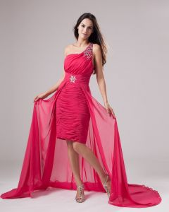 Moda Linke Szyfon Wzburzyc Jedno Ramie Długosc Asymetryczna Suknie Balowe Sukienki Na Bal