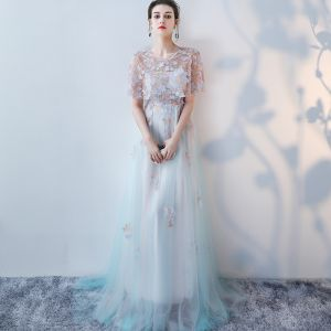 Elegant Summer Pool Blue Evening Dresses  2018 A-Line / Princess Appliques Sequins Scoop Neck Short Sleeve Floor-Length / Long Formal Dresses
