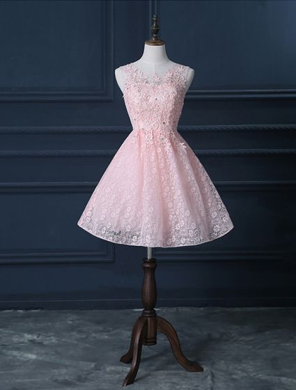 beautiful pink cocktail dress short lace christmas party dresses 2016 new year eve dresses - Christmas Cocktail Dresses