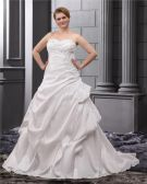 A-Line Strapless Sweep Satin Plus Size Wedding Dress