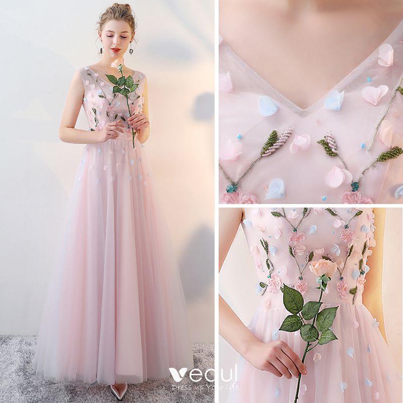 chic belle rougissant rose robe demoiselle d 39 honneur. Black Bedroom Furniture Sets. Home Design Ideas