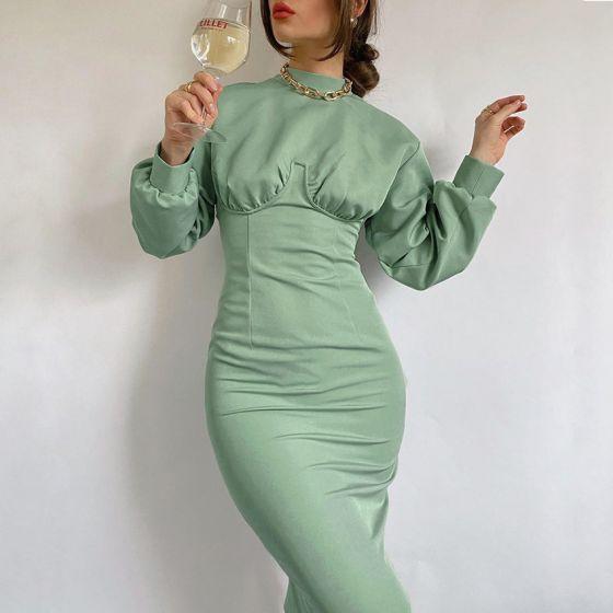 Fashion Green Casual Maxi Dresses 2021 High Neck Puffy Long Sleeve Tea-length Womens Clothing