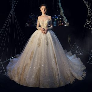 Elegant Champagne Wedding Dresses 2019 Ball Gown Off-The-Shoulder Long Sleeve Backless Glitter Tulle Appliques Lace Beading Cathedral Train Ruffle
