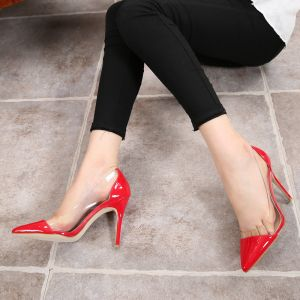 Transparent Red Evening Party Pumps 2020 10 cm Stiletto Heels Pointed Toe Pumps