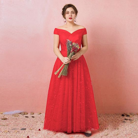Chic / Beautiful Red Plus Size Evening Dresses 2018 A-Line / Princess Tulle  Lace-up Cap Sleeves Backless Strapless Summer Evening Party Formal Dresses
