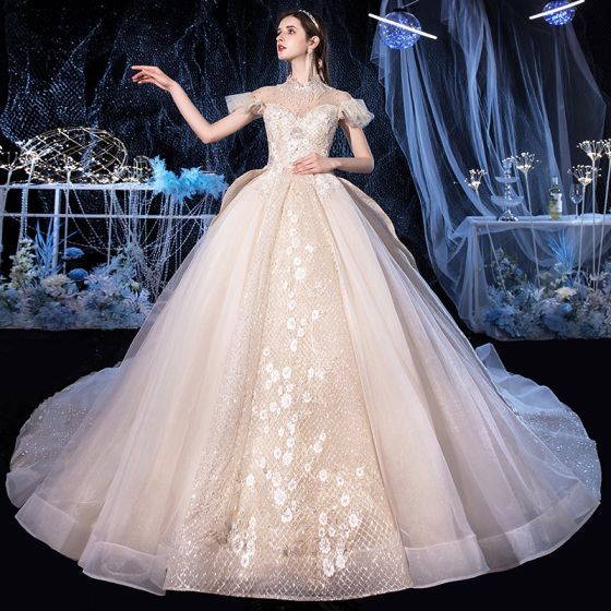 Vintage / Retro Champagne Bridal Wedding Dresses 2020 Ball Gown See-through High Neck Short Sleeve Backless Appliques Lace Beading Tassel Glitter Tulle Royal Train Ruffle