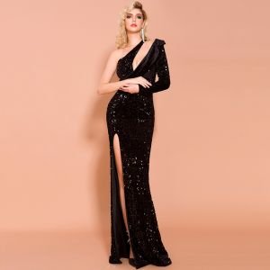 Fashion Black Sequins Evening Dresses  2020 Trumpet / Mermaid One-Shoulder Long Sleeve Split Front Floor-Length / Long Backless Formal Dresses