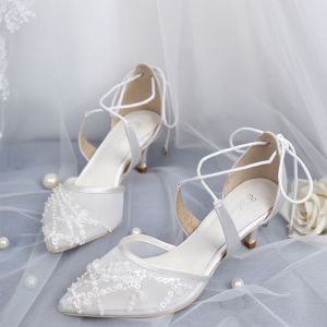 Elegant White Wedding Shoes 2019 X-Strap Lace Sequins Bow 5 cm Stiletto Heels Pointed Toe Wedding High Heels