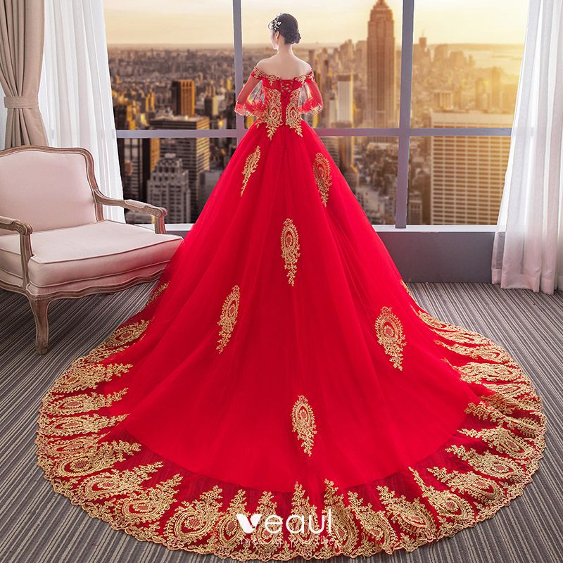 Chinese Style Red Wedding Dresses 2019 Ball Gown Off The Shoulder Gold Lace Flower 1 2
