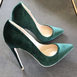 Chic / Beautiful Dark Green Casual Womens Shoes 2020 Suede 12 cm Stiletto Heels Pointed Toe Pumps