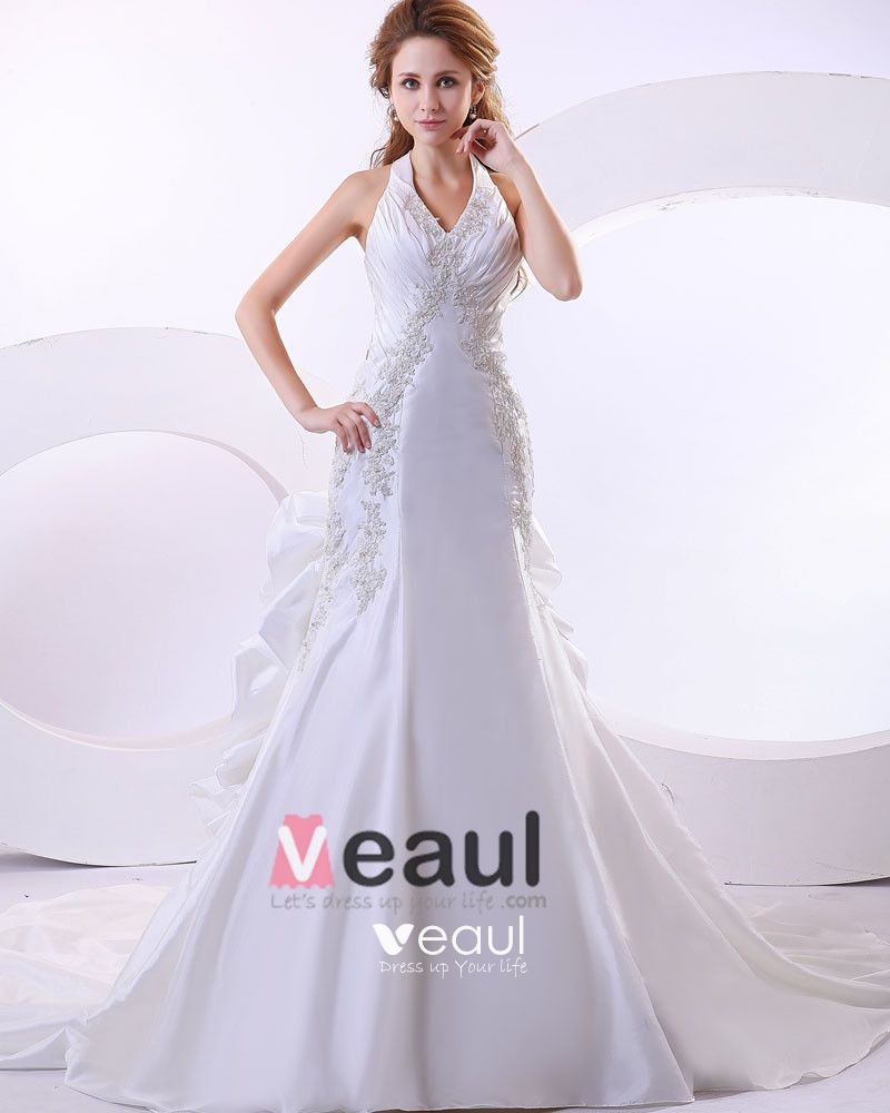 Beautiful Taffeta Beading Applique Halter Monarch Train Mermaid Wedding Dress