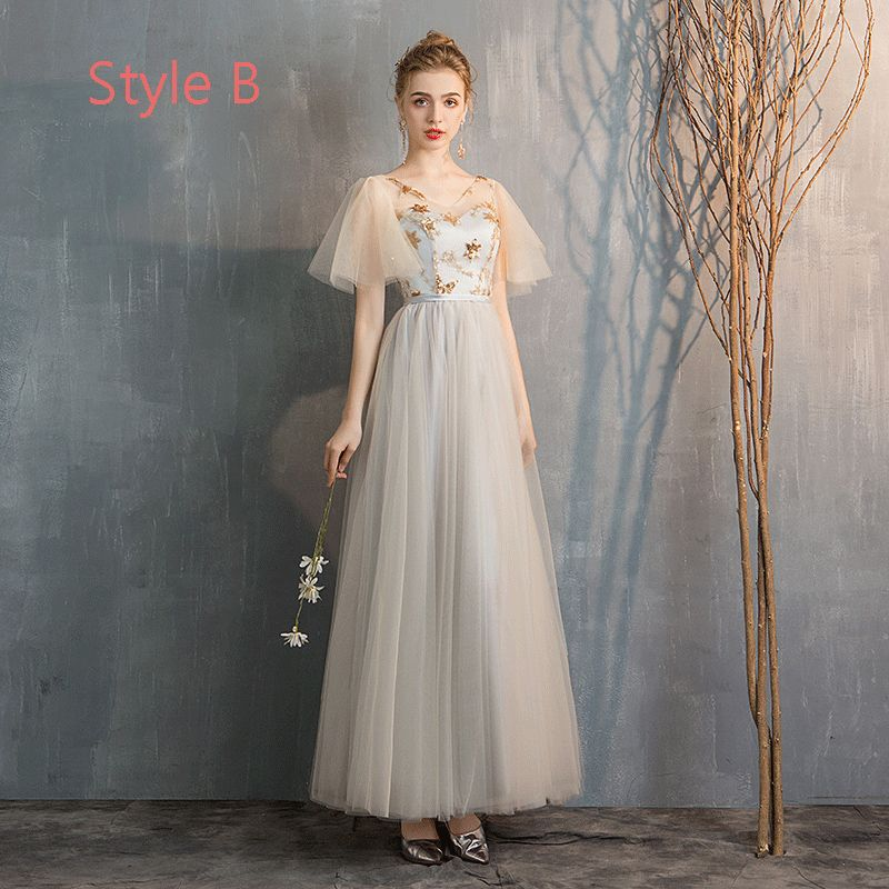 Elegant Champagne Grey Bridesmaid Dresses 2019 A-Line / Princess Star Sequins Floor-Length / Long Ruffle Backless Wedding Party Dresses