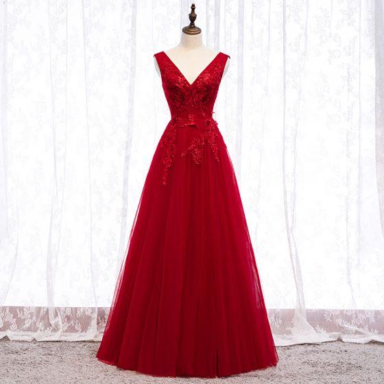 Piękne Burgund Sukienki Wieczorowe 2019 Princessa V-Szyja Frezowanie Kryształ Z Koronki Kwiat Bez Rękawów Bez Pleców Długie Sukienki Wizytowe