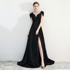 Charming Black Evening Dresses  2019 A-Line / Princess Lace Square Neckline Beading Sequins Sleeveless Backless Split Front Court Train Formal Dresses