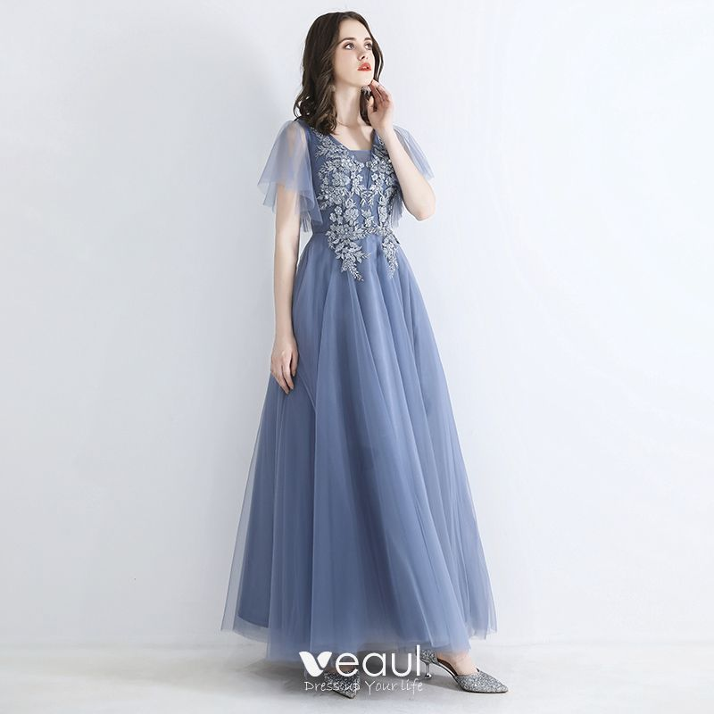 Hermoso Azul Cielo Vestidos De Noche 2019 A Line Princess Escote Cuadrado Manga Corta Apliques Con Encaje Rebordear Largos Ruffle Vestidos Formales