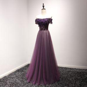Hermoso Vestidos Formales Vestidos de noche 2017 Uva A-Line / Princess Largos Fuera Del Hombro Manga Corta Sin Espalda Perla Con Encaje Apliques Rebordear