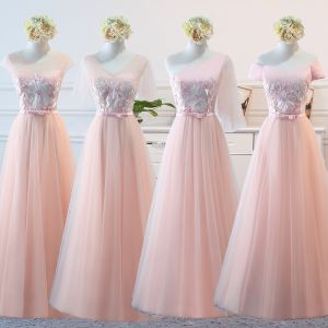 Elegant Pearl Pink Wedding Party Dresses 2018 A-Line / Princess Appliques Lace Bow Backless Floor-Length / Long Bridesmaid Dresses