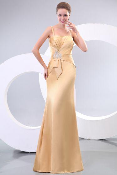 2015 Unique Satin Floor-length Spaghetti Straps Long Bridesmaid Dress