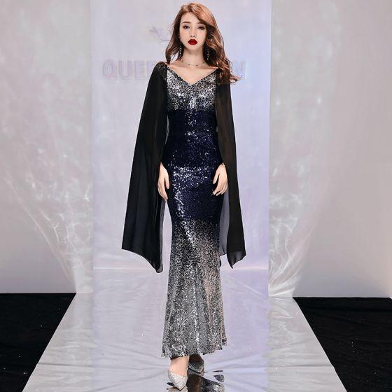 Niedrogie Srebrny Cekiny Sukienki Wieczorowe 2019 Syrena / Rozkloszowane V-Szyja Długie Rękawy Długość Kostki Bez Pleców Sukienki Wizytowe