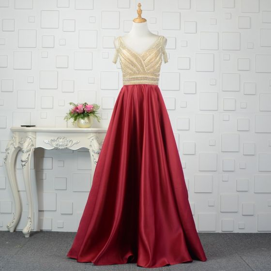 Luxury / Gorgeous Burgundy Evening Dresses  2019 A-Line / Princess Beading Crystal Rhinestone V-Neck Sleeveless Backless Floor-Length / Long Formal Dresses