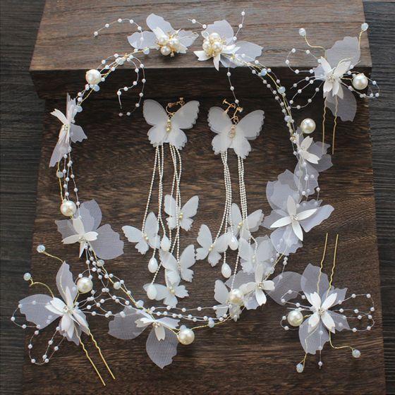 Blumenfee Ivory / Creme Seidenblume Brautschmuck 2020 Schmetterling Perlenstickerei Ohrringe Stirnbänder Haarschmuck Braut