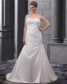 Satin Applique Chapel Plus Size Bridal Gown Wedding Dress