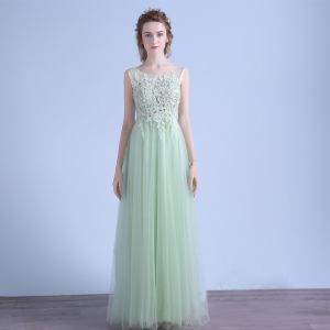 Chic / Beautiful Evening Party Evening Dresses  2017 Sage Green A-Line / Princess Sweep Train Backless Sleeveless Scoop Neck Lace Appliques Crystal Beading