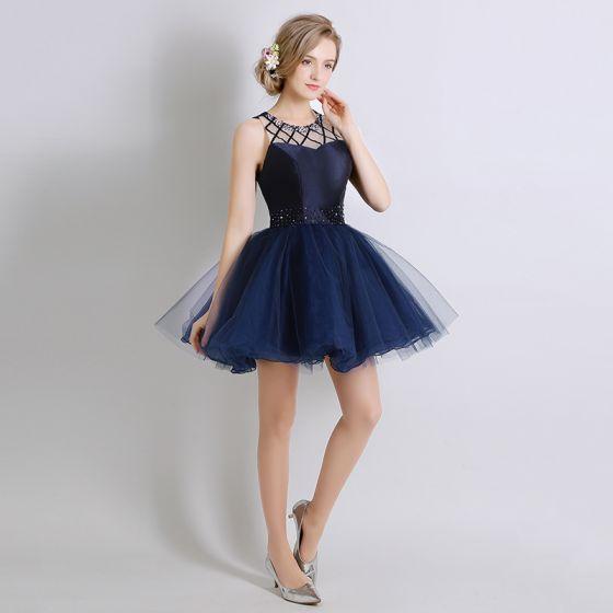Piękne Granatowe Sukienki Koktajlowe 2017 Suknia Balowa Kryształ Frezowanie Wycięciem Bez Pleców Krótkie Sukienki Wizytowe