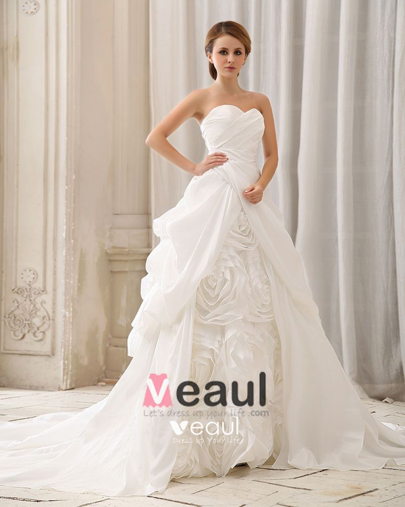 Elegant Solid Ruffle Handmade Flower Strapless Back Zipper Court Train Taffeta Ball Gown Wedding Dress