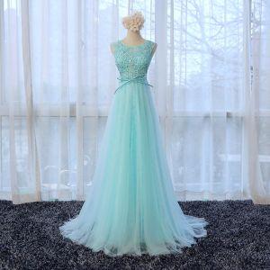 Schöne Lange Blau Abendkleider 2018 U-Ausschnitt A Linie Reißverschluss Applikationen Perlenstickerei Festliche Kleider