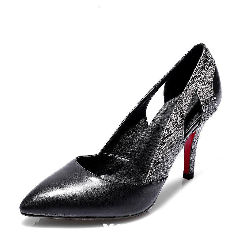 Modern / Fashion 2017 8 cm / 3 inch Black White Casual Outdoor / Garden Leatherette Summer Alligator Print High Heels Stiletto Heels Pumps