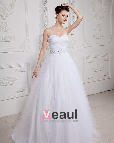Organza Applikationer Alskling Beading Kapell Balklänning Brudklänningar Bröllopsklänningar