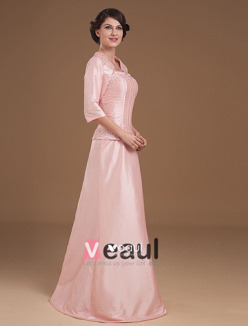 Taffeta Satin Sweetheart Beads Floor Length Mothers of Bride Guests Dresses