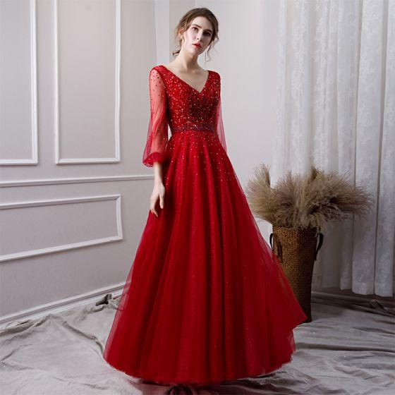 6418ffa465 Magnífico Borgoña Transparentes Vestidos de noche 2019 A-Line   Princess  V-cuello Profundo Hinchado 3 4 ...