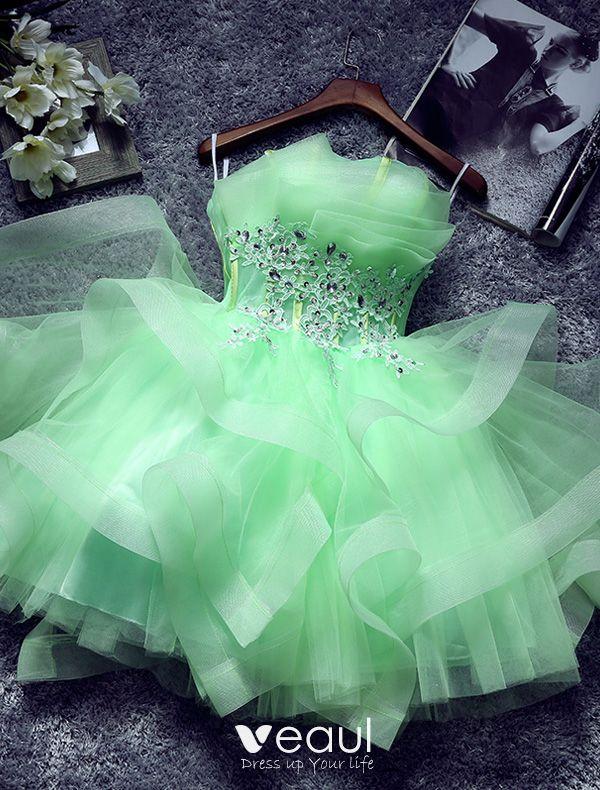 bien baratas producto caliente clientes primero Hermoso Vestido De Cóctel Verde Volantes En Cascada Sin Tirantes Del  Vestido De Partido Corto