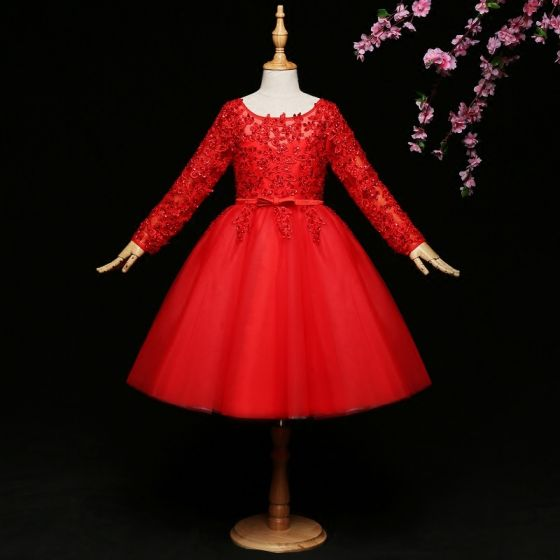 Chic / Beautiful Red Flower Girl Dresses 2017 Ball Gown Lace Bow Sequins Scoop Neck Long Sleeve Short Wedding Party Dresses