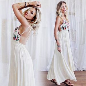 Sexy Summer Ivory Beach Maxi Dresses 2018 Spaghetti Straps Sleeveless Floor-Length / Long Ruffle Backless Womens Clothing