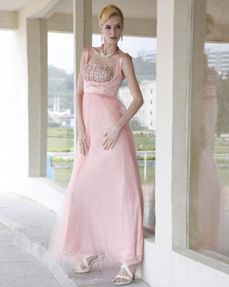 Charmeuse Rhinestone Mesh Pleated Beading Square Neck Ankle Length Evening Dresses