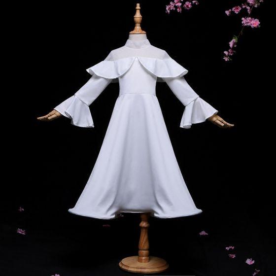 Amazing / Unique Ivory Flower Girl Dresses 2017 A-Line / Princess High Neck Long Sleeve Ankle Length Wedding Party Dresses
