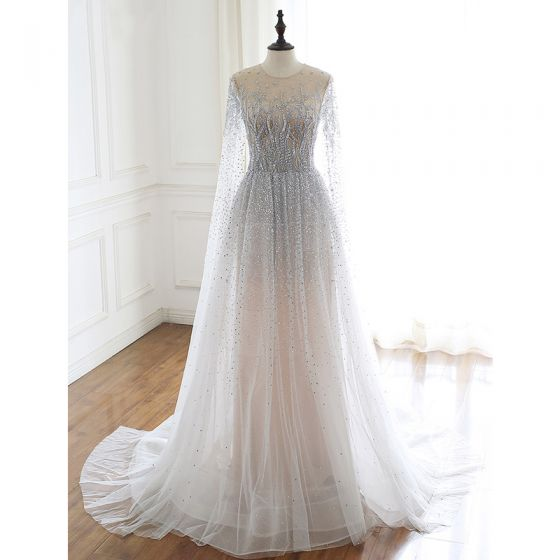 Luxury / Gorgeous Grey Handmade  Beading Wedding Dresses 2020 A-Line / Princess Scoop Neck Rhinestone Sequins Long Sleeve Court Train