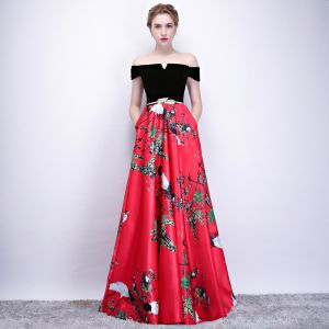 Chic / Beautiful Red Evening Dresses  2018 A-Line / Princess Metal Sash Printing Off-The-Shoulder Backless Sleeveless Floor-Length / Long Formal Dresses