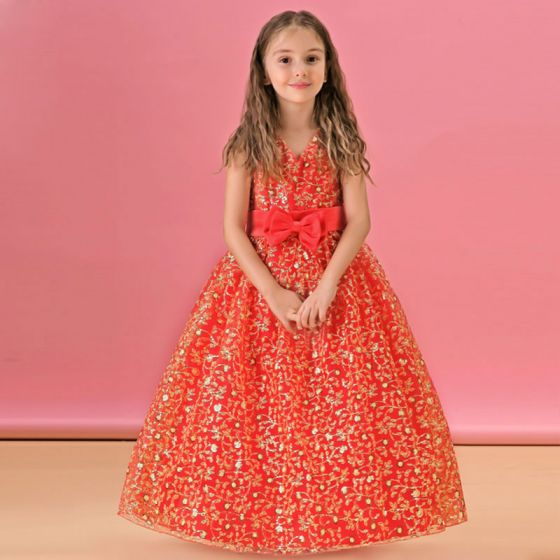 Winter Long Section Of Flower Girl Princess Dress Red Dress Autumn