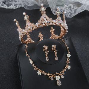 Klasyczna Złote Tiara Kolczyki Naszyjnik Biżuteria Ślubna 2020 Stop Frezowanie Perła Rhinestone Ślub Akcesoria