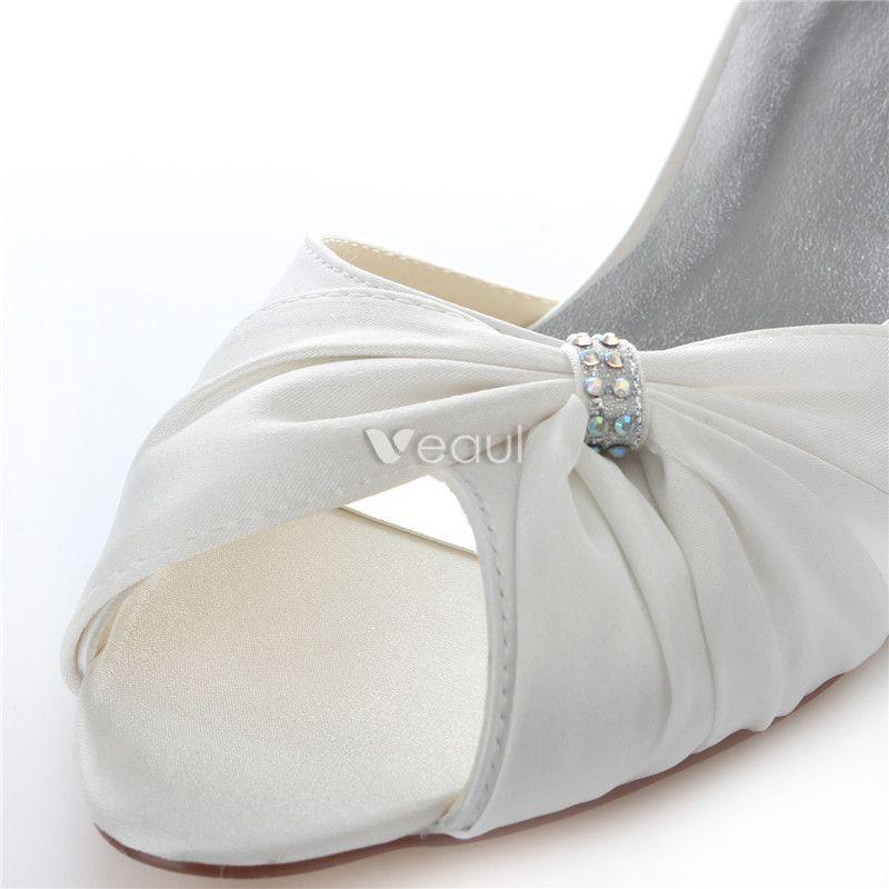 Beautiful Satin Wedding Shoes Stiletto Heels White Pumps Peep Toe