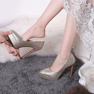 Moda Oro Zapatos de novia 2019 12 cm Poliéster Glitter Lentejuelas Tacones Punta Estrecha Boda High Heels