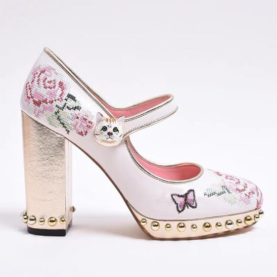 Lovely White Embroidered Prom Pumps 2021 Leather 10 cm Thick Heels High Heels Round Toe Pumps