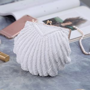 Luxury / Gorgeous White Beading Pearl Metal Clutch Bags 2018