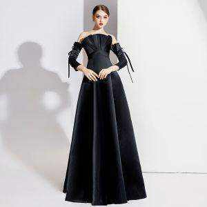Eleganckie Czarne Sukienki Wieczorowe 2020 Princessa Przy Ramieniu Kokarda 3/4 Rękawy Bez Pleców Długie Sukienki Wizytowe